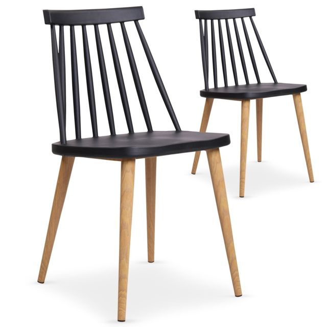 Lot De 2 Chaises Scandinaves Stella Noir