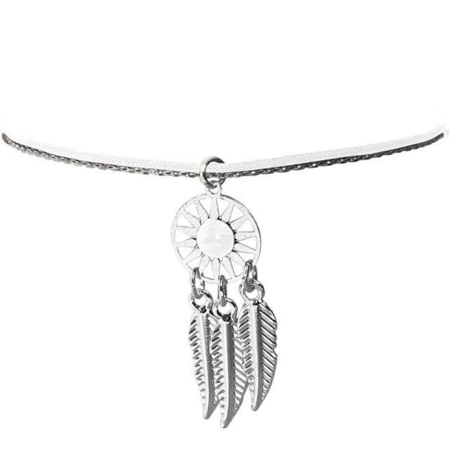 Cbk - Bracelet pour femme Blanc fantaisie thème Indien Argentée ... 2e241f7da0b0