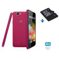 WIKO - Rainbow 4G Fuchsia + Carte Mémoire Micro SDHC Kingston - 8 Go - Classe 4 - SDC4/8GB + Adaptateur SD fourni