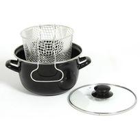Menastyl - Friteuse en acier émaillé D.20cm noir Frying