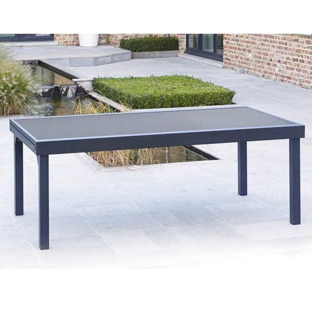 Wilsa - Table de jardin 200/320 Modulo 12 Places Noire 320cm x 75cm ...