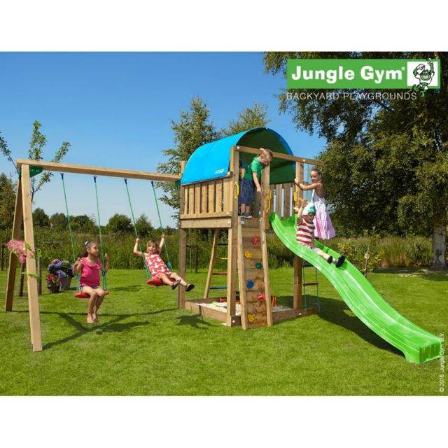 ec3ef9a6842c1 Jungle Gym - Tour de jeux en bois Jungle Villa 2 Swing Xtra - pas cher Achat    Vente Aire de jeux - RueDuCommerce