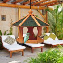 PAWHUT - Mangeoire suspendue nichoir à oiseau pour extérieur en bois 40 x 40 x 35 cm 02