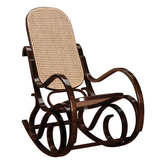 Tousmesmeubles Rocking Chair teinte Noyer - Country - L 53,5 x l 92 x H 94