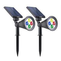 LUMISKY - Set de 2 Spot lumineux multicolore solaire SPIKY à LED RGB 34cm