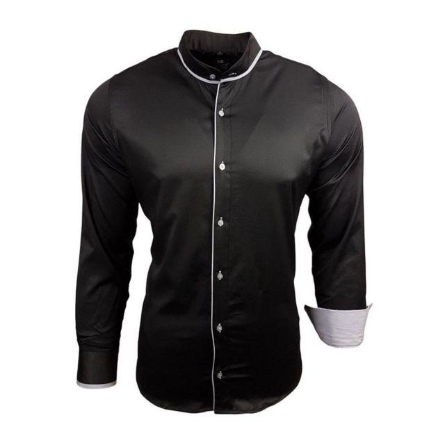 selection izi chemise col mao pas ch re noir pas cher achat vente chemise homme. Black Bedroom Furniture Sets. Home Design Ideas
