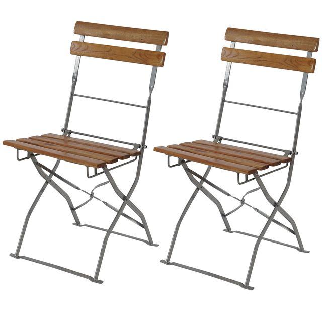 Mendler 2x chaise de kiosque à bière Berlin, pliant, acacia huilé ~ nature
