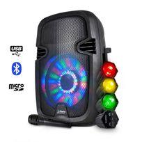 Party Sound - Enceinte batterie 300W Usb/BT/FM/SD + Chenillard Rouge/Vert/Jaune