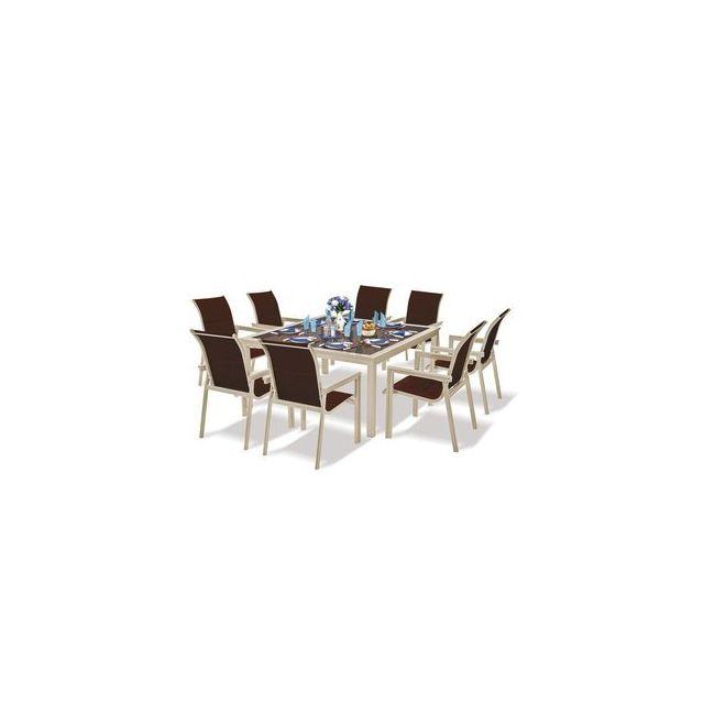 Alpina - Salon de jardin en Aluminium Majestic Table carrée + 8 ...