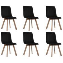 Chaises de salle à manger 6 pcs Noir Velours