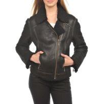 Arturo - Blouson cuir peau lainée mouton retourné Taille Femme - 44,  Couleur - noir 5b97483dc3c0