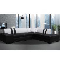 BestMobilier - Porto Rico - CanapÉ D Angle Droite Convertible - 278x216x73cm Couleur - Noir / Blanc
