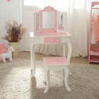 Coiffeuse Enfant Teamson Bois Table Maquillage Miroir Tabouret Fille Td 11670q