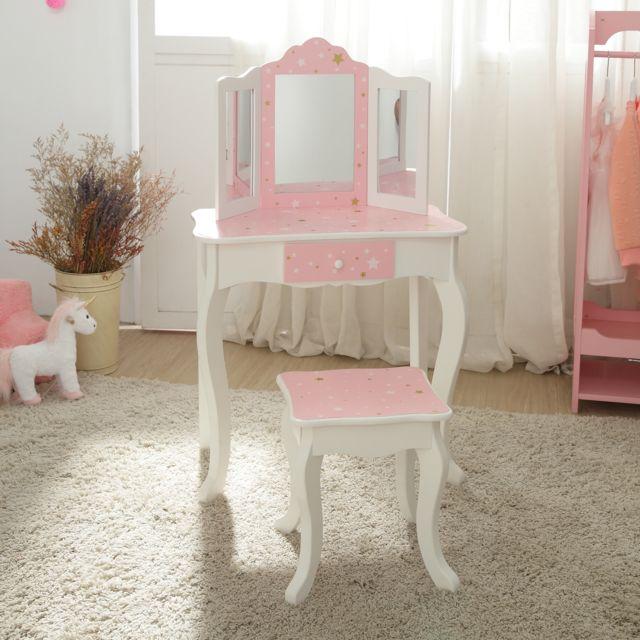 Coiffeuse Enfant Teamson Bois Table Maquillage Miroir Tabouret Fille Td 11670k