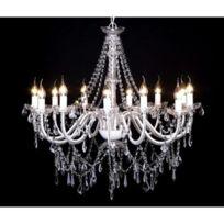 Destockoutils - Lustre vénitien baroque plafonnier 12 lampes 1600 cristaux