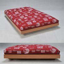 No Name - Lit Loft 140x200 + 1 sommier + 1 matelas futon rouge / Chêne