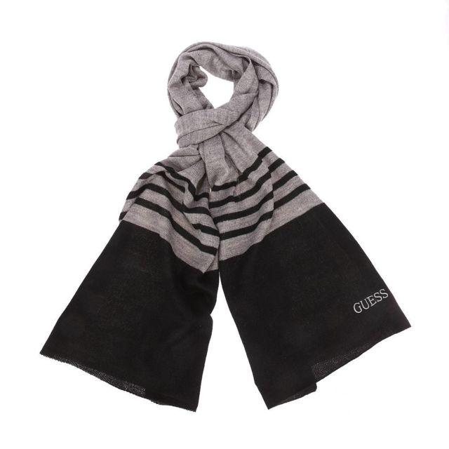 cd177a72fd3 Guess - Echarpe en laine mélangée gris foncé chiné à rayures bleu nuit brodé  - pas cher Achat   Vente Echarpes