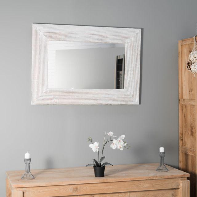 Wanda Collection Miroir Madrid en bois patiné cérusé blanc 70 X 100