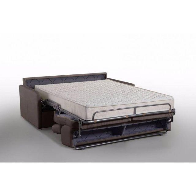 inside 75 canap lit montmartre en microfibre marron couchage 160cm matelas 18cm sommier. Black Bedroom Furniture Sets. Home Design Ideas
