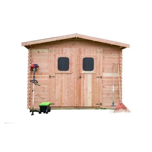 HABRITA Abri DOMMAR madriers Douglas 28 mm sans plancher toit double pente 10,89 m²