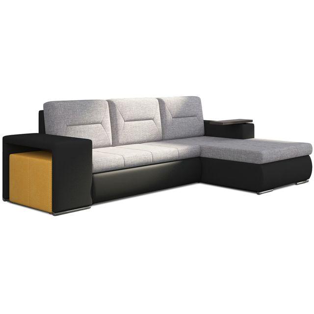 COMFORIUM - Canapé d angle convertible 3 places en tissu gris clair ... 61e58a9d89d0