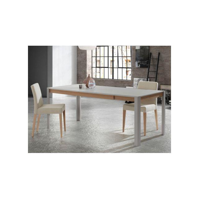 MARQUE GENERIQUE Table à manger extensible LEANDRE - 6 à 8 couverts - MDF laqué - Coloris : Gris & Chêne