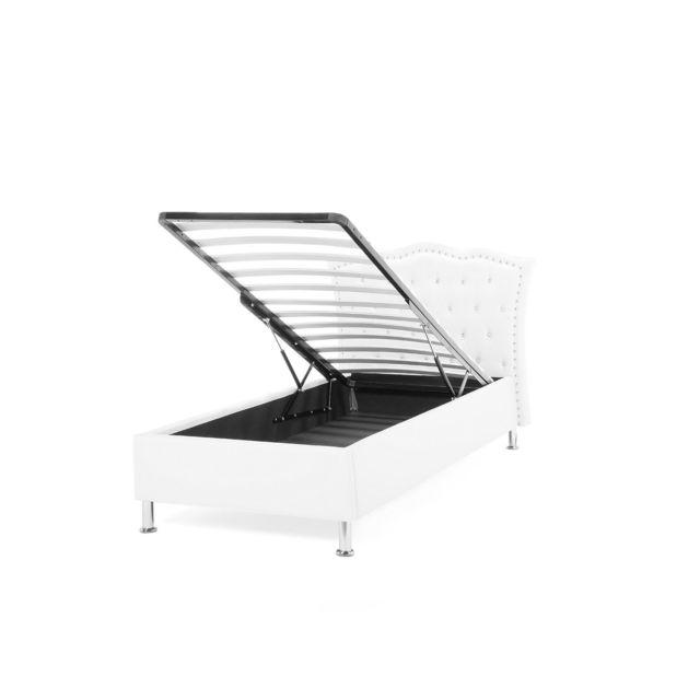 BELIANI Lit simple avec rangement en simili-cuir blanc 90 x 200 cm METZ - blanc
