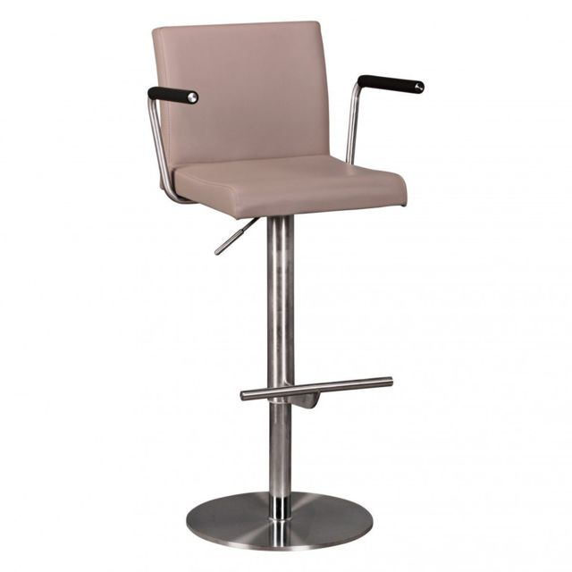 Conception innovante bccf0 1fc12 Tabouret de bar design en pvc avec accoudoirs coloris taupe collection  C-Shie