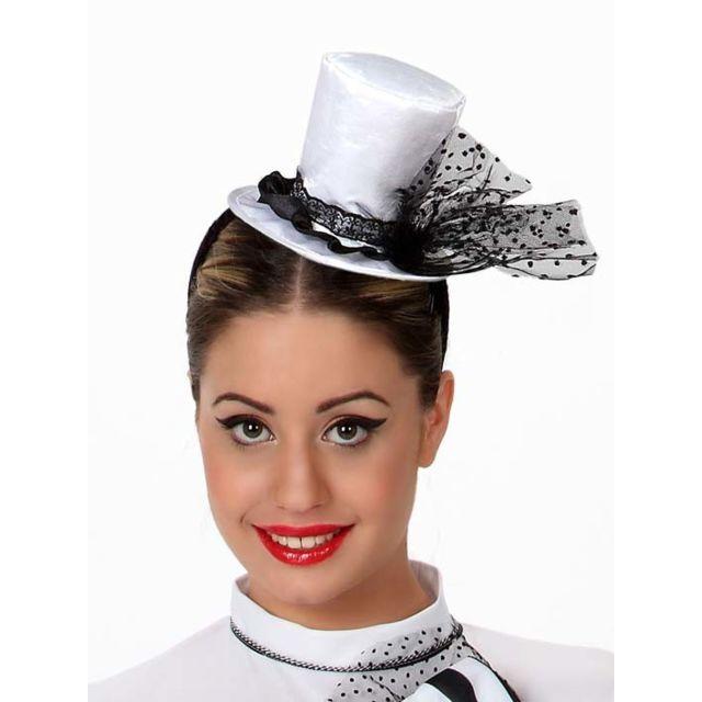 Sans - Mini chapeau haut de forme blanc femme - taille - Taille Unique -  238666 e7f1e97225f
