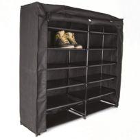 Armoire Chaussures 36 Paires 115 X 106 X 30 Cm Plastique Noir