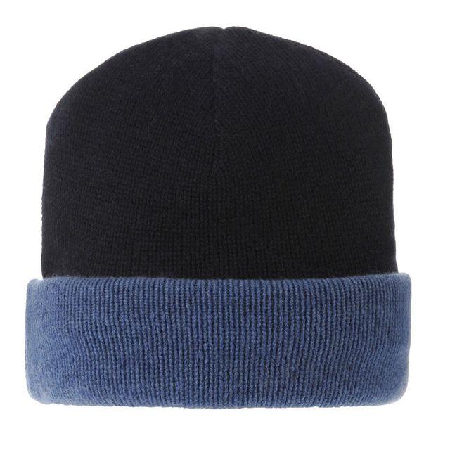 Les Poulettes Bijoux Bonnet 100% Cachemire 6 Fils Bicolore Colors - Bleu Navy