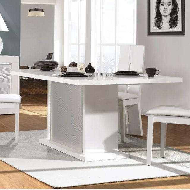Nouvomeuble Table à manger extensible blanche laquée design Karl