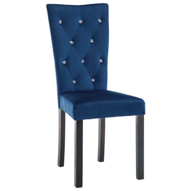 Chaise de salle à manger 4 pcs Velours Bleu foncé MeublesFauteuilsChaises de cuisine et de salle à manger | Bleu | Bleu