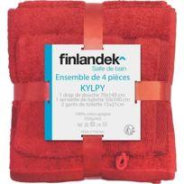 Finlandek - Bain - Finlandek Set 1 Serviette + 1 Drap Douche + 2 Gants Kylpy Corail