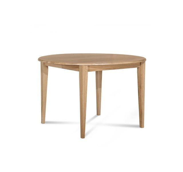 HELLIN Table ronde bois à rallonges - 115 cm - Pieds fuseau - VICTORIA