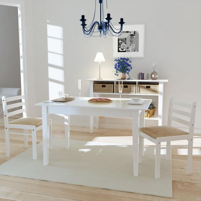 Vidaxl Set de 2 chaises blanches en bois avec dossier carré