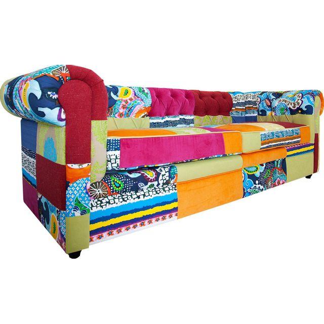 Comforium Canapé 3 places fixe et classique en polyester coloris multicolor