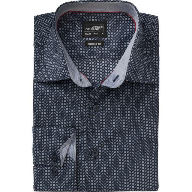 James & Nicholson chemise manches longues - Jn670 - Homme - bleu marine - motifs fins