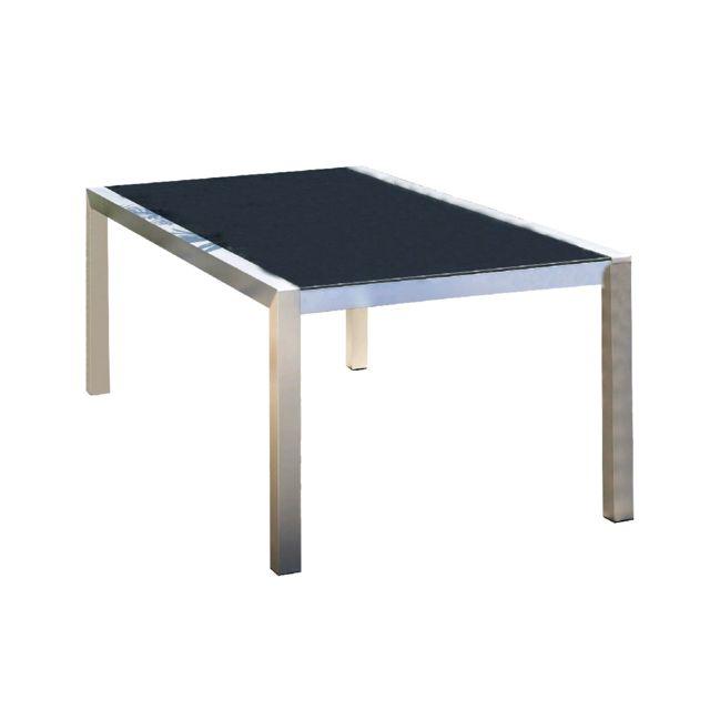 Le Reve Chez Vous - Table De Jardin Pacific Aluminium Et Verre Noir ...