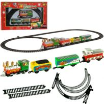 Touslescadeaux - Train électrique de Noël - 9 pièces - Décoration de Noël train avec wagon père noel, sapin