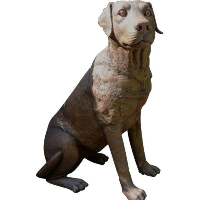 TEXARTES Labrador assis en résine 80 cm