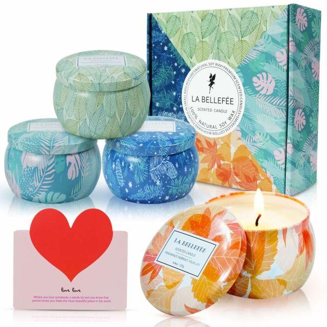 Coffret Bougies Parfumées Les Quatre Saisons Bougie à la Cire de Soja Naturelle Idée Cadeau pour Anniversaire Mariage et