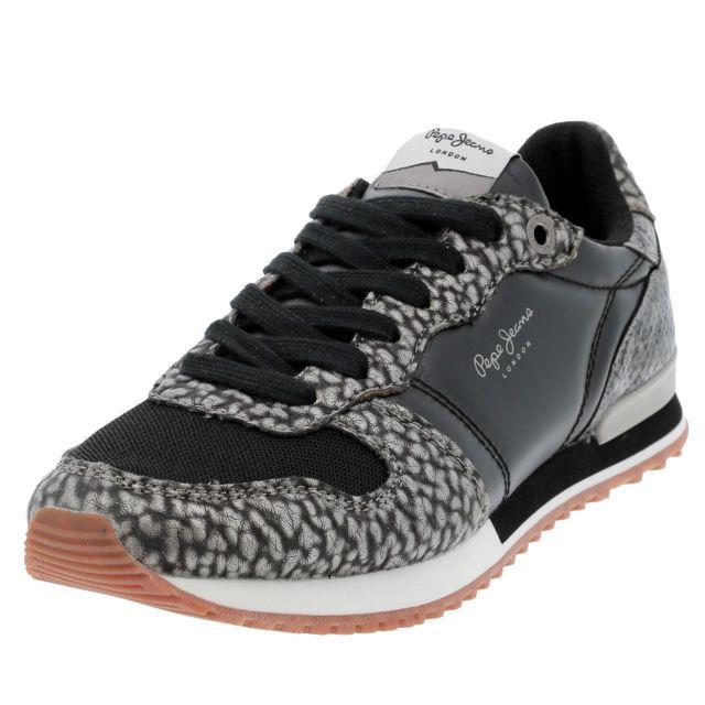 ac3b6403e02 Pepe Jeans - Chaussures mode ville Gable black lady Noir 13410 - pas cher  Achat   Vente Baskets femme - RueDuCommerce