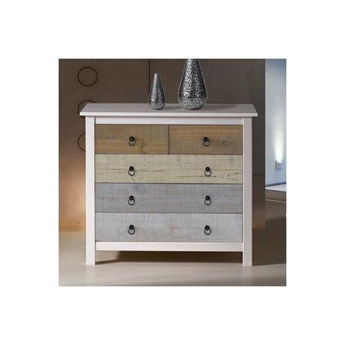 marque generique commode en bois massif avec 5 tiroirs hauteur 80 cm flora blanc pas cher. Black Bedroom Furniture Sets. Home Design Ideas
