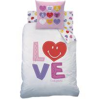 Smiley - Housse de couette et taie d'oreiller 140x200 cm World Sweet Love 100% Cotton