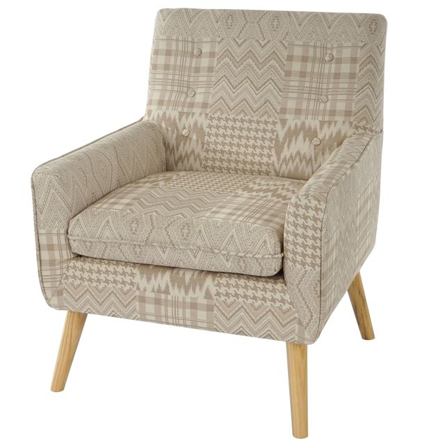 Mendler Fauteuil Malmö T370, fauteuil rembourré de salon, rétro, design des années 50 ~ beige/marron, tissu