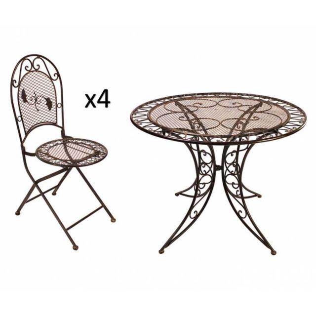 Salon Chaises Fer Ronde Grand Patiné 4 en 1 Pliables Table 4 de Places Marron Ø100cm Jardin WdeCxorB