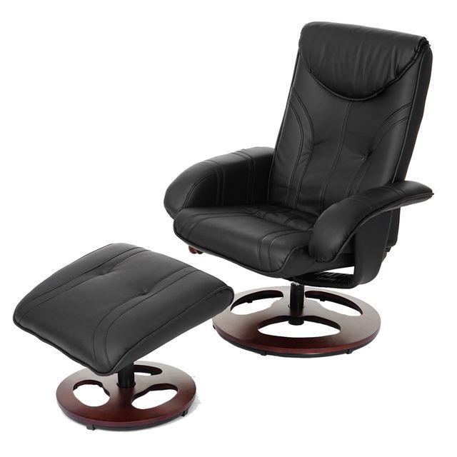 Mendler Fauteuil de relaxation Oxford, fauteuil de télévision avec tabouret, similicuir ~ noir