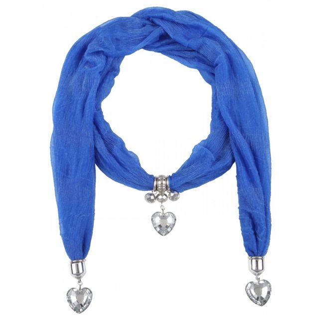 Bijoux en Vogue - Écharpe Coeur Fantaisie Bleu - pas cher Achat   Vente  Echarpes, foulards - RueDuCommerce 171e8e45fec