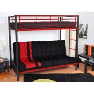 vente unique lit mezzanine modulo iv 90x190cm noir et rouge pas cher achat vente. Black Bedroom Furniture Sets. Home Design Ideas